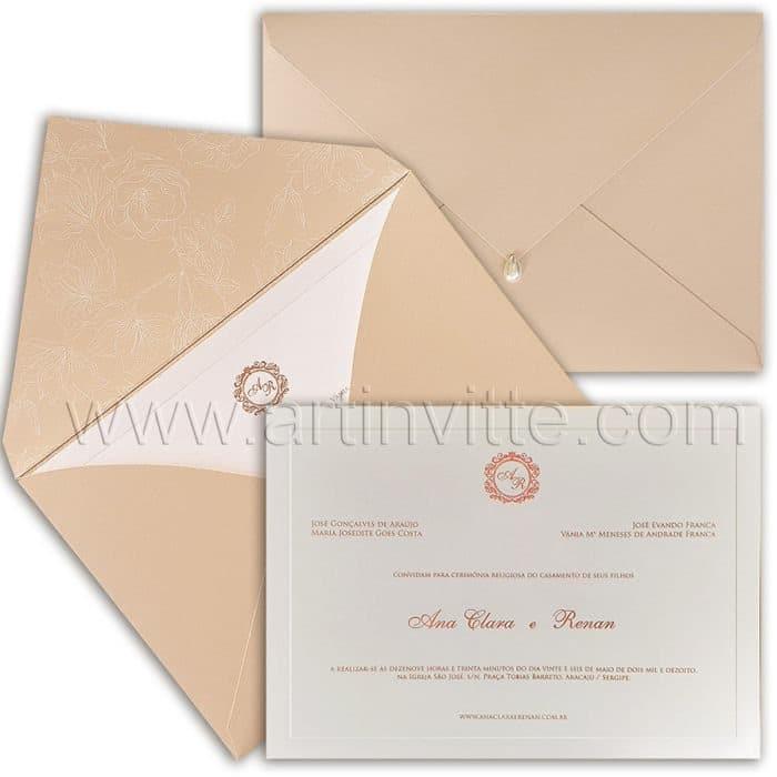 Convite de casamento Tradicional - Veneza VZ 160 - Clássico em Rosê - Art Invitte Convites