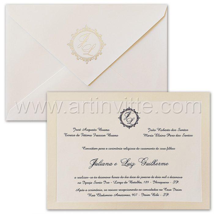 Convite de casamento Tradicional - Veneza VZ 161 - Branco e Pérola - Art Invitte Convites