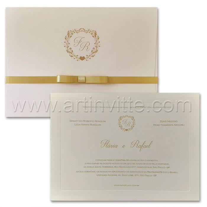 Convite de casamento Tradicional - Veneza VZ 162 - Clean e chique - Art Invitte Convites