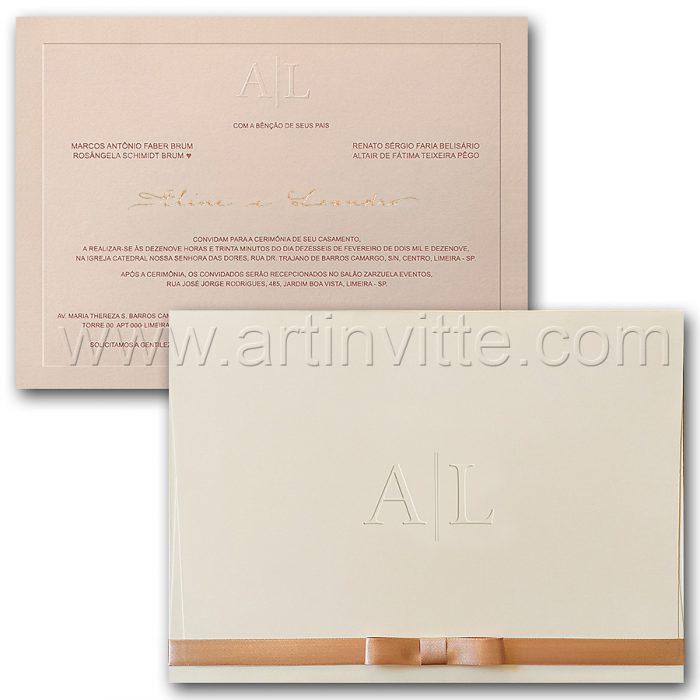 Convite de casamento Tradicional - Veneza VZ 163 - Ousado em Rosê - Art Invitte Convites