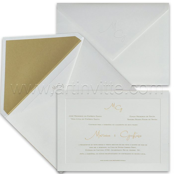 Convite de casamento Tradicional - Veneza VZ 164 - Elegência em dourado - Art Invitte Convites
