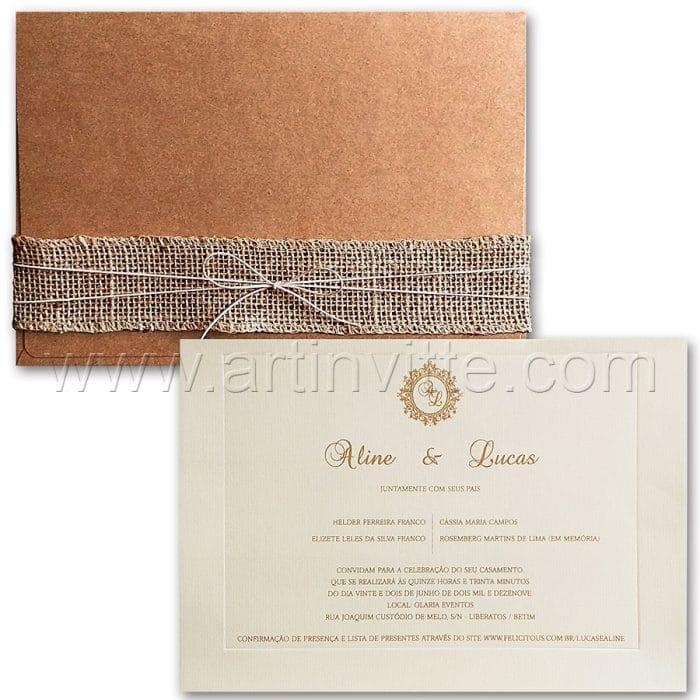 Convite de casamento Rústico - Veneza VZ 165 - Kraft e Juta - Art Invitte Convites convites rústicos