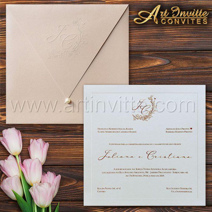 Convite de casamento Romântico - Veneza VZ 167 - Rosa e Marsala - Art Invitte Convites