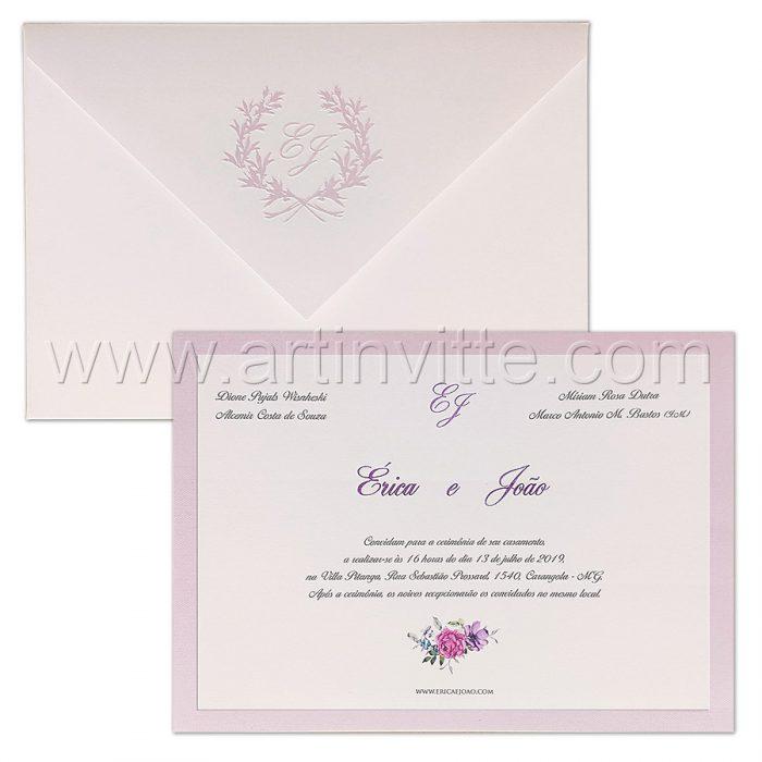 Convite de casamento Romântico - Veneza VZ 168 - Floral e Lilás - Art Invitte Convites