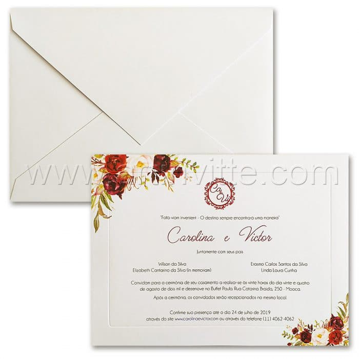 Convite de casamento Floral - Veneza VZ 171 - Floral Digital - Art Invitte Convites