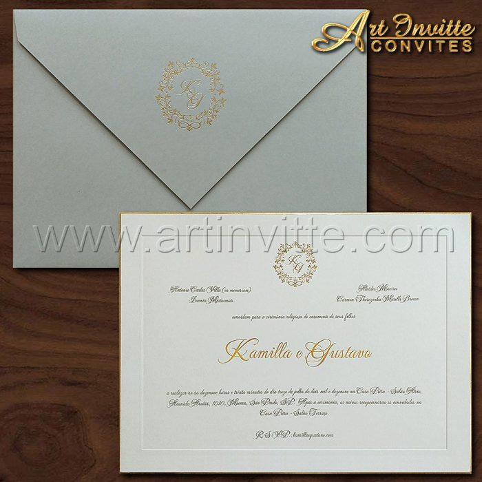 Convite de casamento Tradicional - Veneza VZ 172 - Luxo e elegância - Art Invitte Convites
