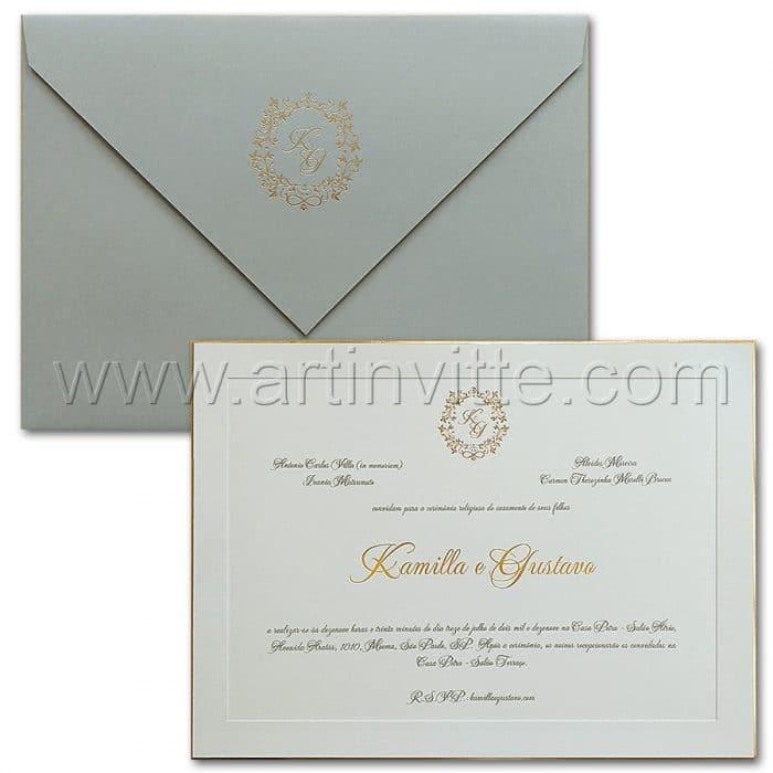 Convite de casamento Tradicional - Veneza VZ 172 - Luxo e elegância