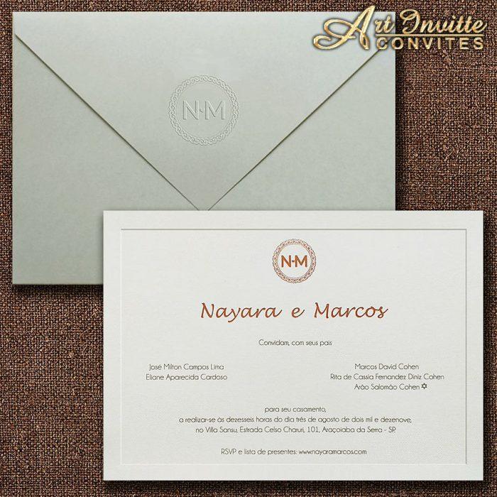 Convite de casamento Clássico Veneza VZ 178