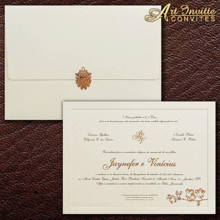 Convite de casamento Tradicional - Veneza VZ 179 - Flores em rosê - Art Invitte Convites