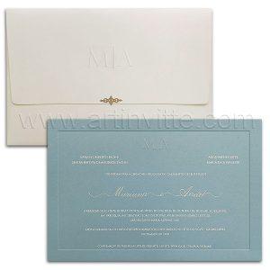 Convite de casamento Moderno - Veneza VZ 180 - Azul e Branco - Art Invitte Convites