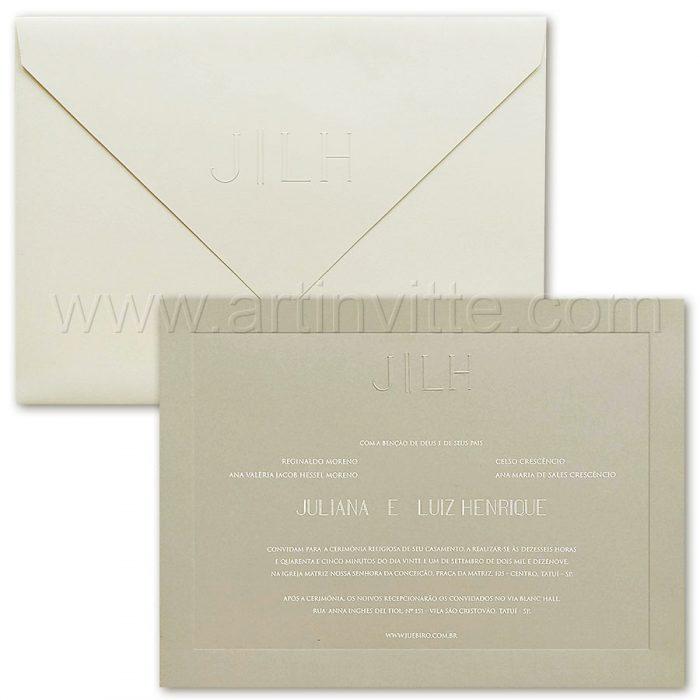 Convite de casamento Moderno - Veneza VZ 181 - Cinza e Offwhite - Art Invitte Convites