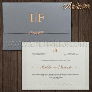 Convite de casamento Moderno - Veneza VZ 182 - Chumbo e Branco - Art Invitte Convites