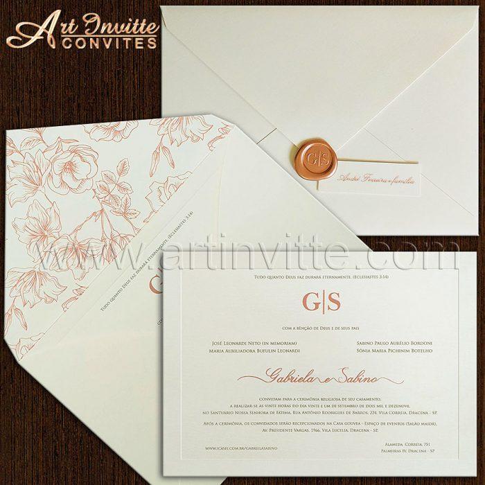 Convite de casamento Floral - Veneza VZ 183 - Rosê e Branco - Art Invitte Convites