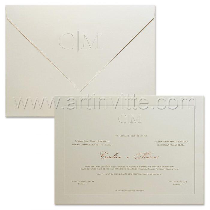 Convite de casamento Tradicional - Veneza VZ 184 - Rosê e Branco - Art Invitte Convites
