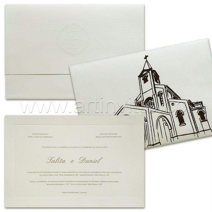 Convite de casamento com capa - Veneza VZ 185 - Capa em Pergamenata - Art Invitte Convites