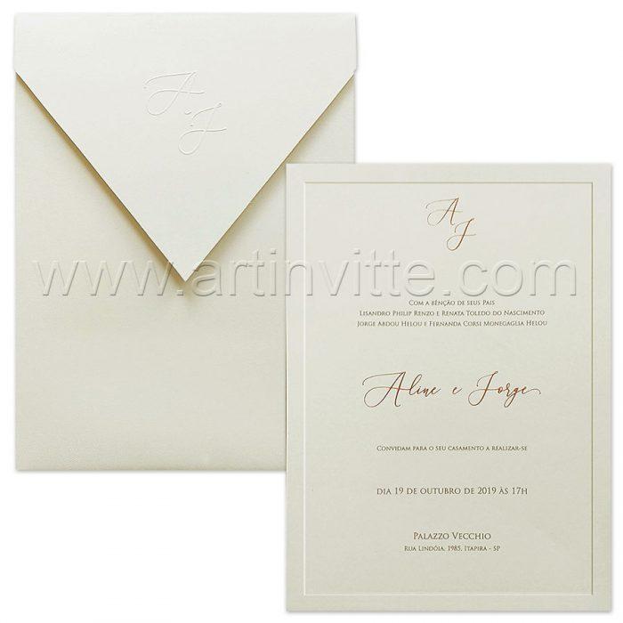 Convite de casamento Vertical - Veneza VZ 186 - Clean e chique - Art Invitte Convites