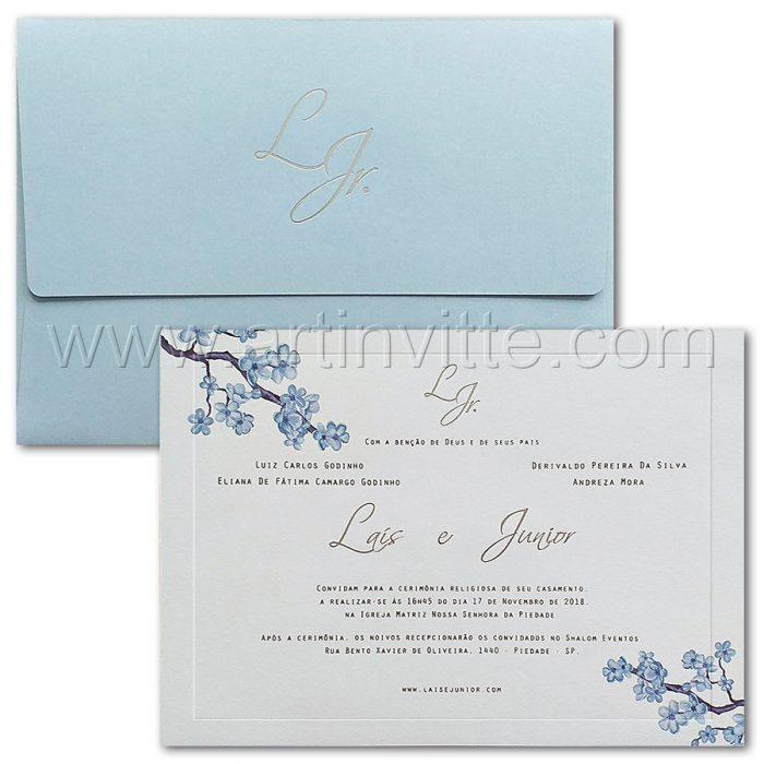 Convite de casamento Floral - Veneza VZ 187 - Azul e Branco - Art Invitte Convites