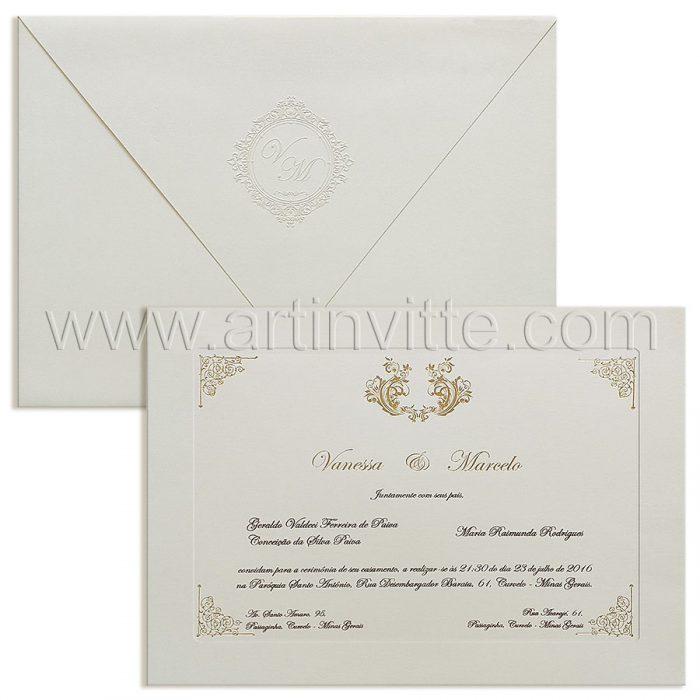 Convite de casamento Clássico - Veneza VZ 197 - Branco e dourado - Art Invitte Convites