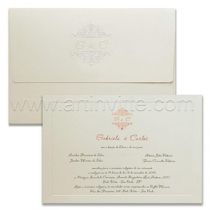 Convite de casamento Clássico - Veneza VZ 198 - Rosê e Branco - Art Invitte Convites