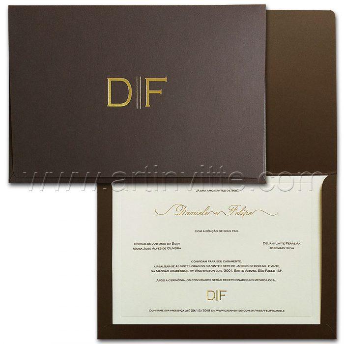 Convite de casamento Elegante - Veneza VZ 200 - Marrom e Dourado - Art Invitte Convites
