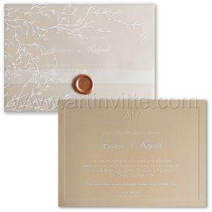 Convite de casamento Romântico - Veneza VZ 201 - Vegetal Branco e Nude - Art Invitte Convites