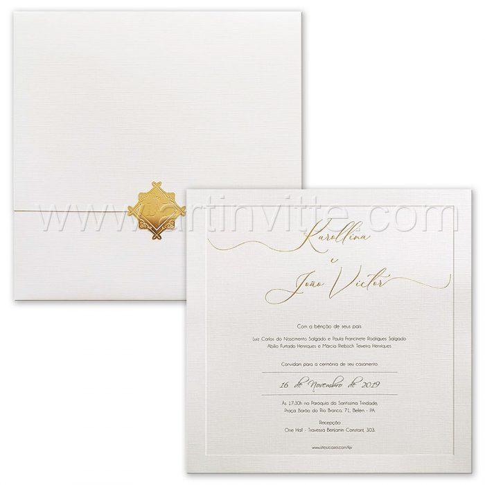 Convite de casamento quadrado - Veneza VZ 203