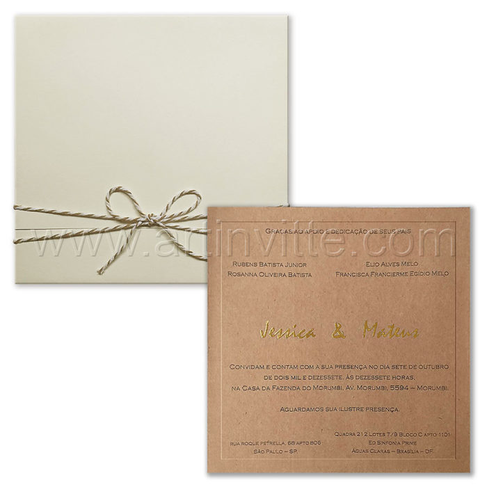 Convite de casamento clássico Rústico - Veneza VZ 205 - kraft e barbante