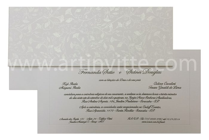 Convite de casamento Art Invitte Convites - Carteira CT-016