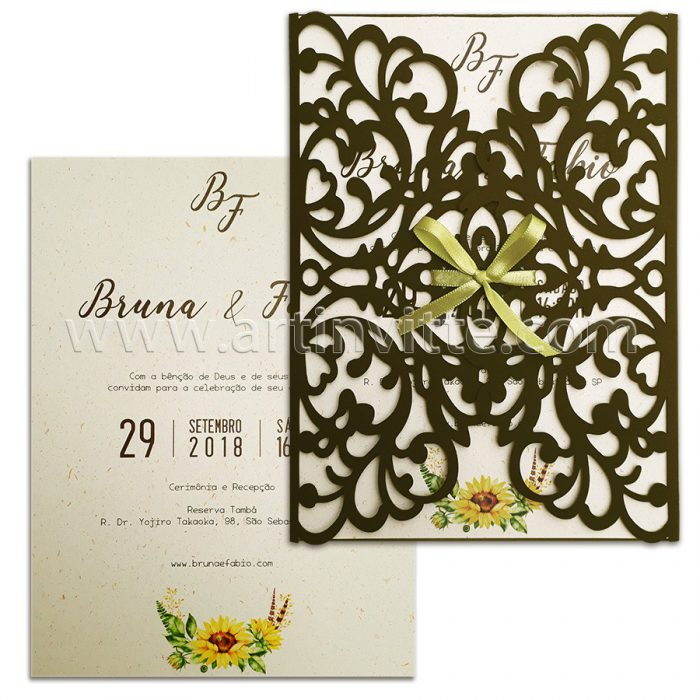 Convite de casamento Corte Laser CCL 029