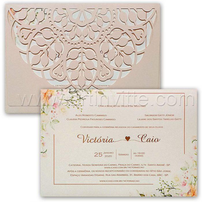 Convite de casamento corte laser - CCL 031 - Rosa e Floral - Art Invitte Convites