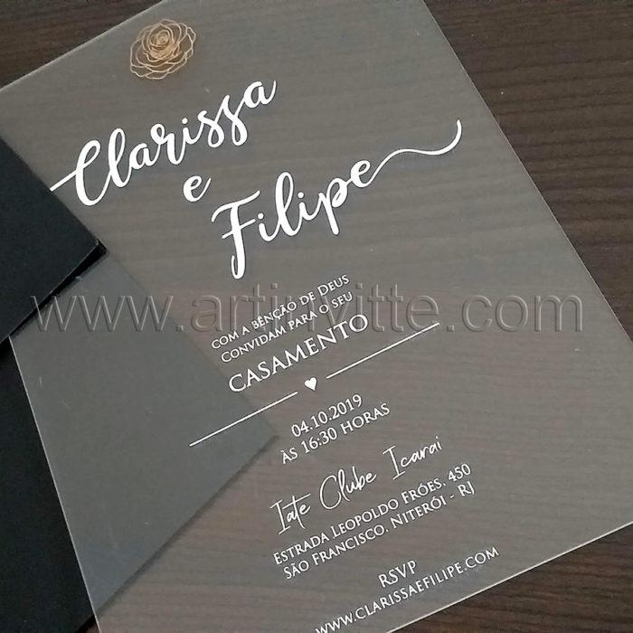 Convite de casamento em Acrílico CAR 010