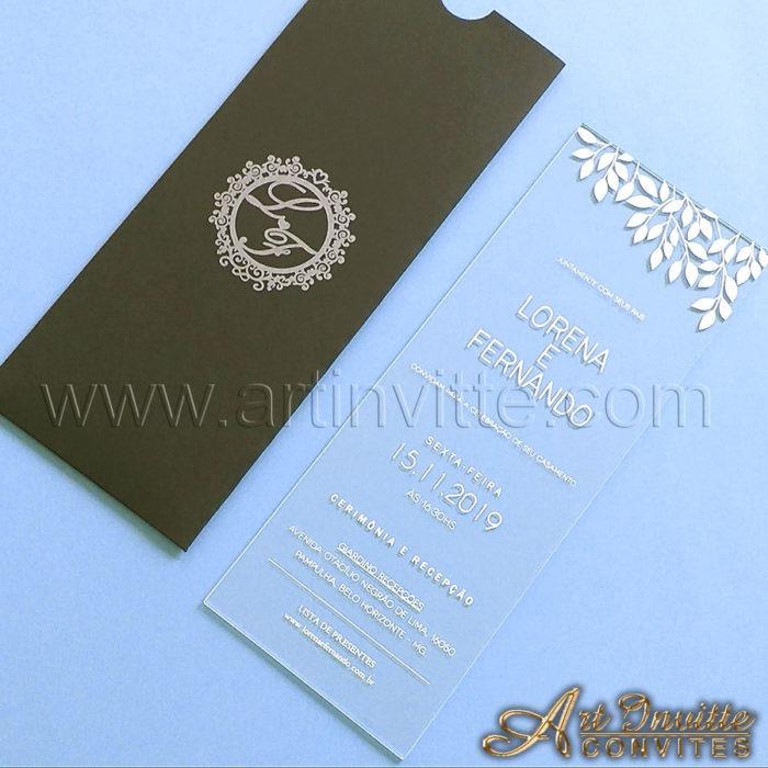 Convite de casamento em acrílico CAR 011