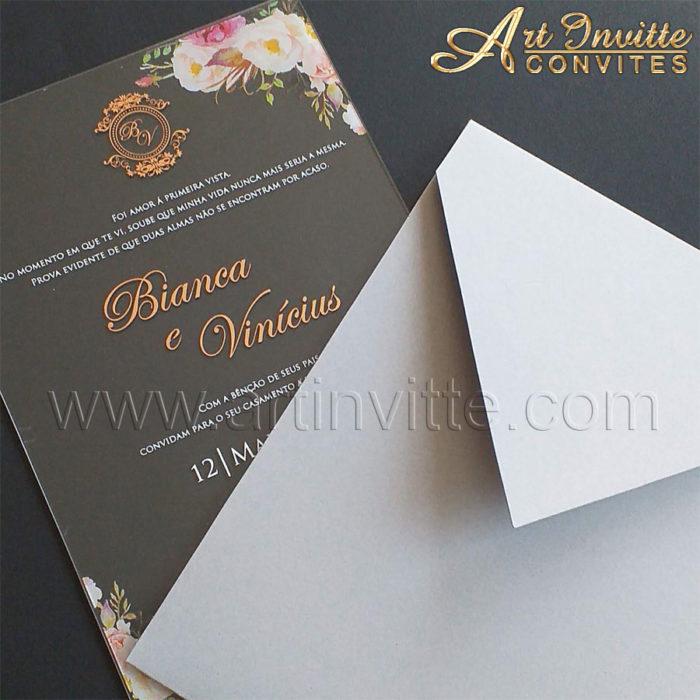 Convite de casamento em Acrílico CAR 012