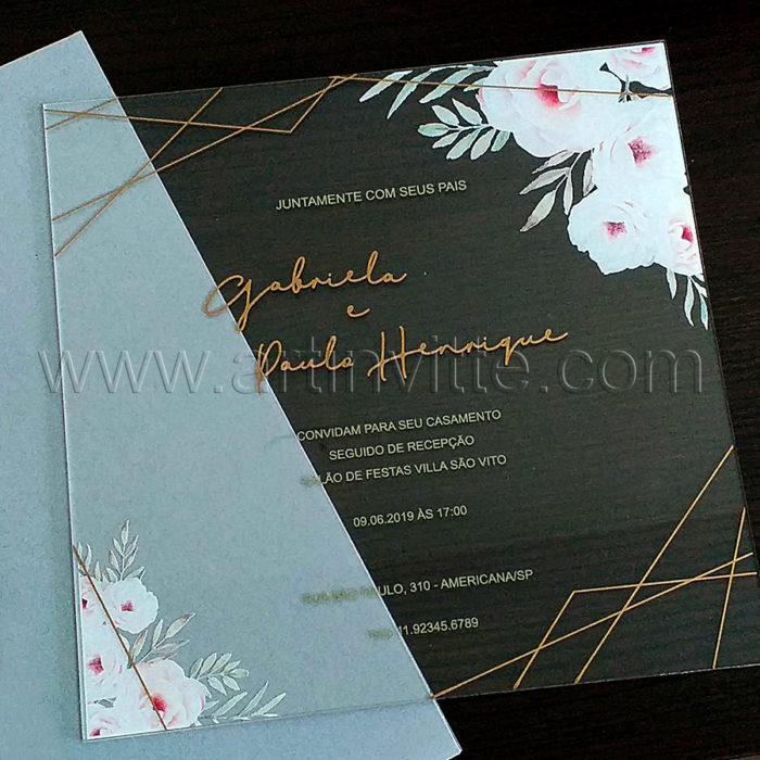 Convite de casamento em Acrílico CAR 014