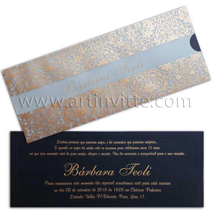 Convite Debutante Fronha DFR 012 -Vegetal dourado e preto