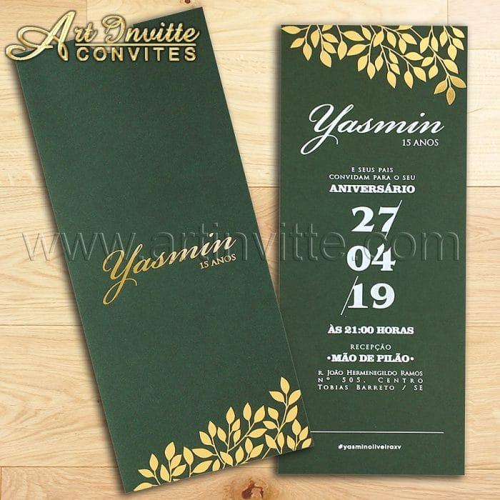 Convite de 15 anos - DFR 013 - Verde Musgo e dourado - Art Invitte Convites
