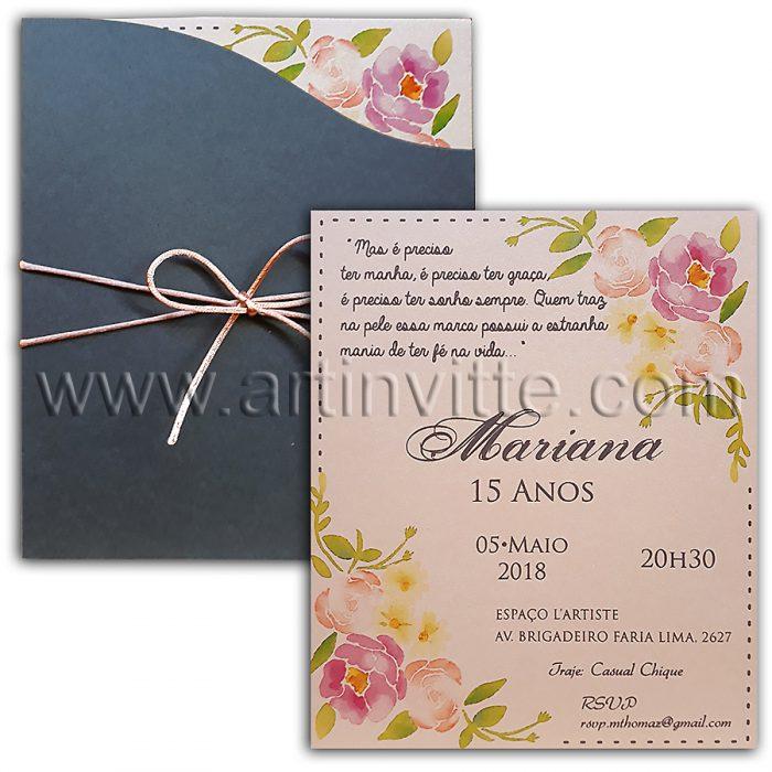 Convite de 15 anos floral com cinza DIF 009