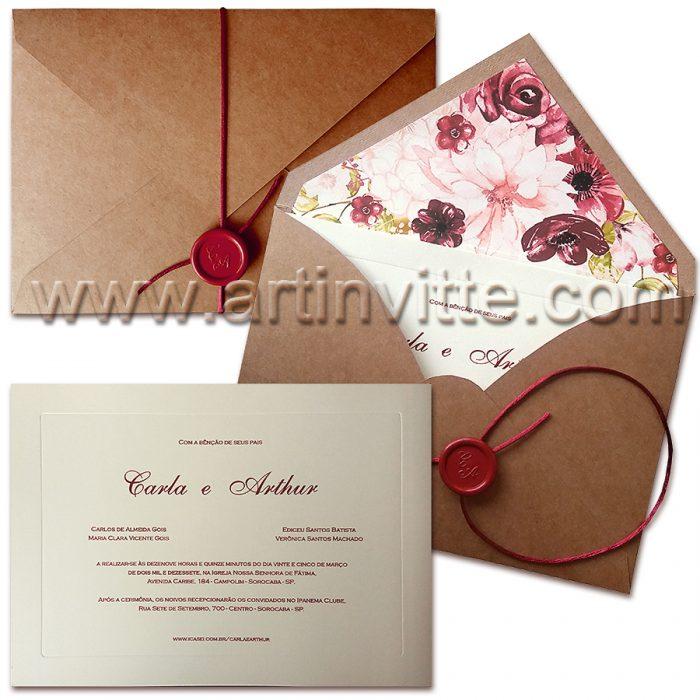 Convite de Casamento Rústico Floral VZ 059 - convites de casamento rústico