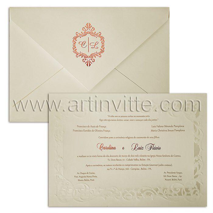 Convite para casamento Romântico Alexandria AL 022