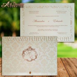 Convite de casamento clássico, modelo Alexandria com estampa adamascada na parte externa