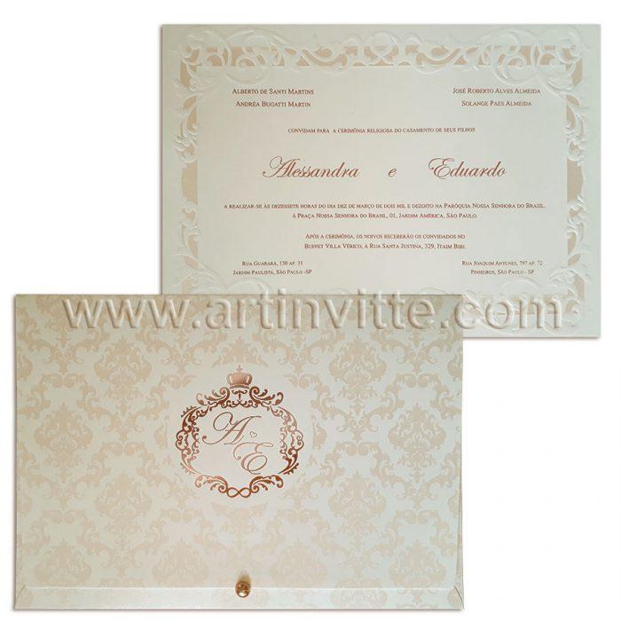 Convite para casamento Romântico Alexandria AL 023.