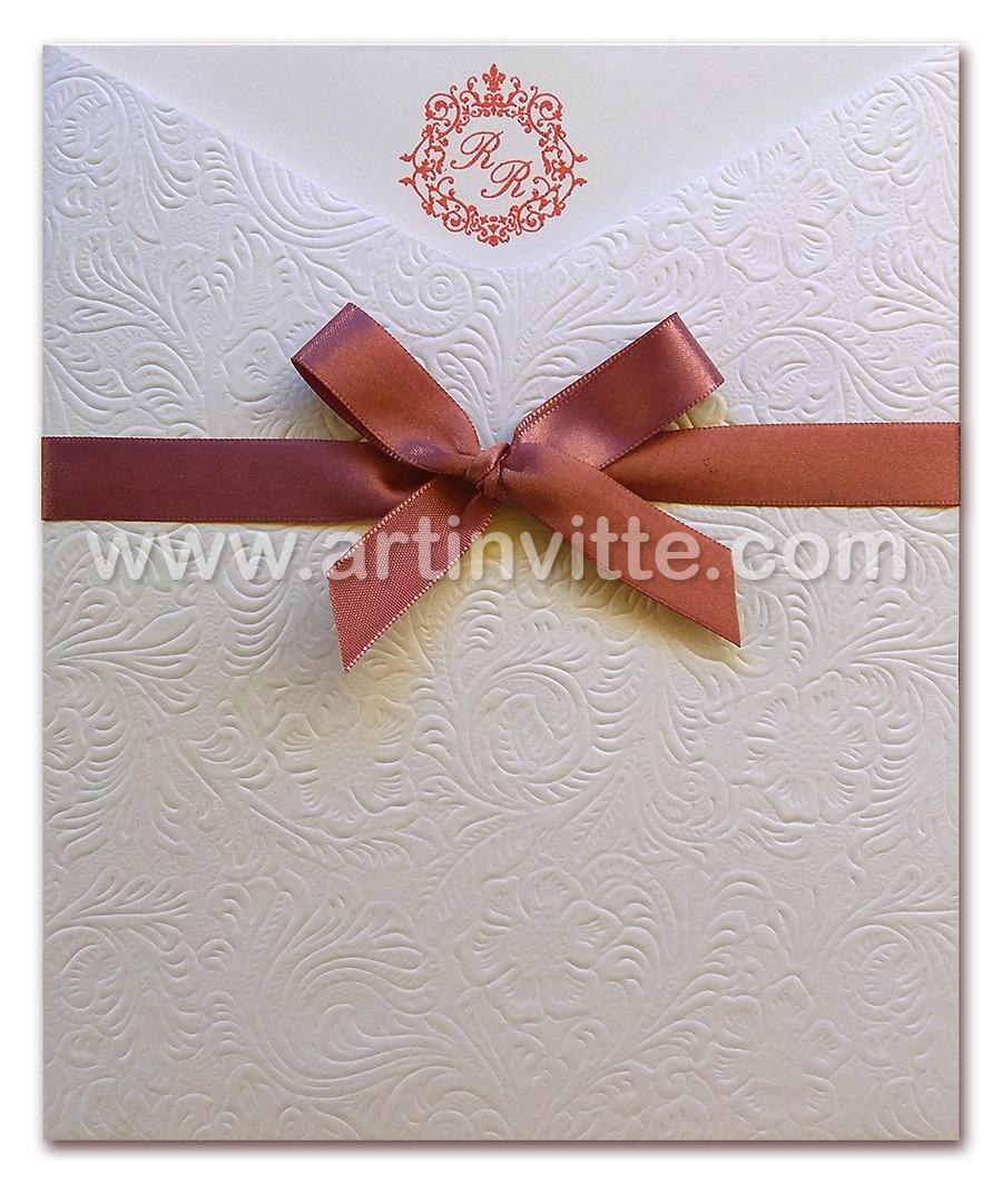 Convite de casamento Fronha FR 038 com papel texturizado
