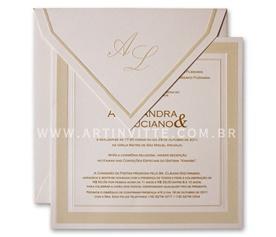 Convite de casamento quadrado Milão ML 001