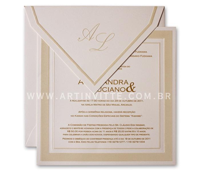 Convite de casamento quadrado com moldura em dourado Milão ML 001