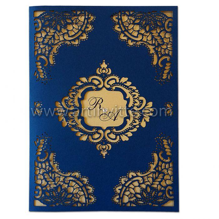 Convite de casamento CCL 018 - com corte a laser em azul marinho e dourado