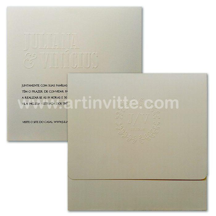 Convite de casamento tradicional com relevo seco HA 005