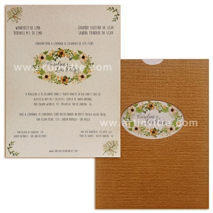 Convite de casamento rústico HA 008 - convites rústicos