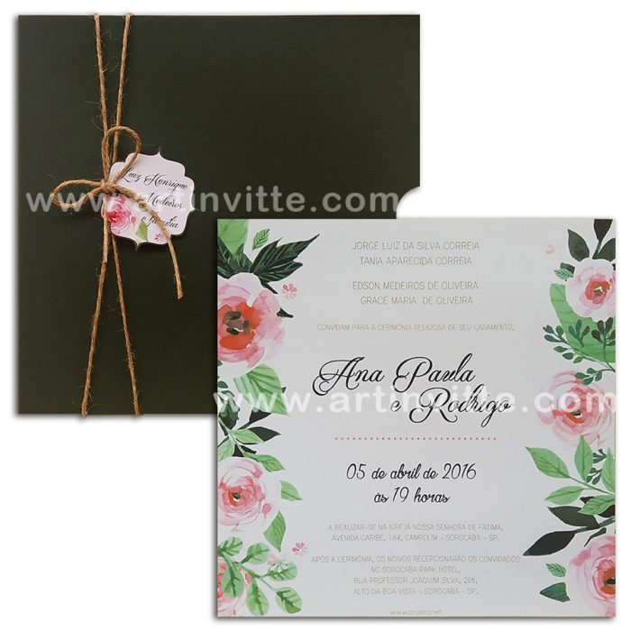Convite de casamento modelo Haia HA 009