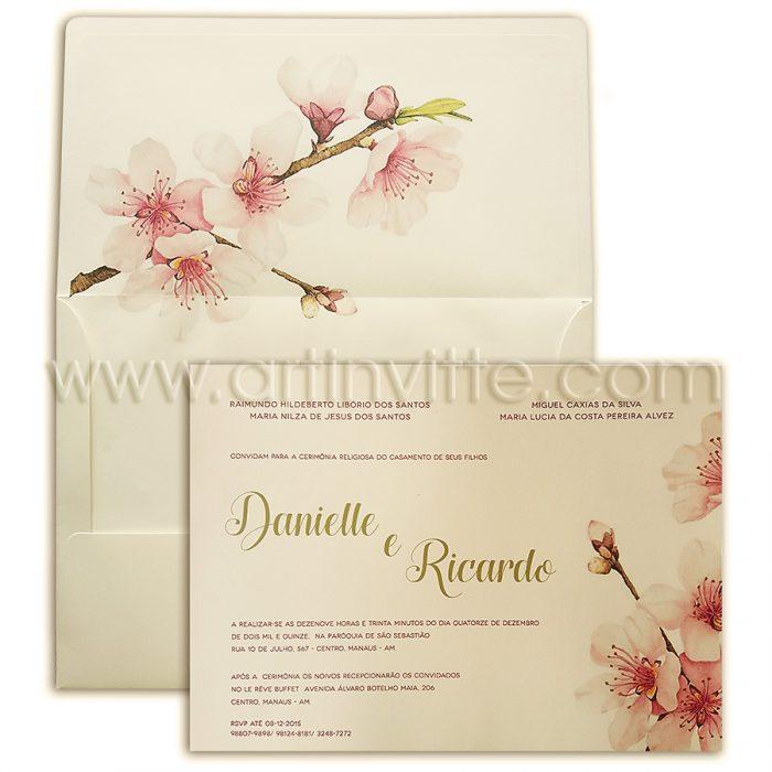 Convite para Casamento - Art Invitte Convites - Convite Floral Haia HA 011