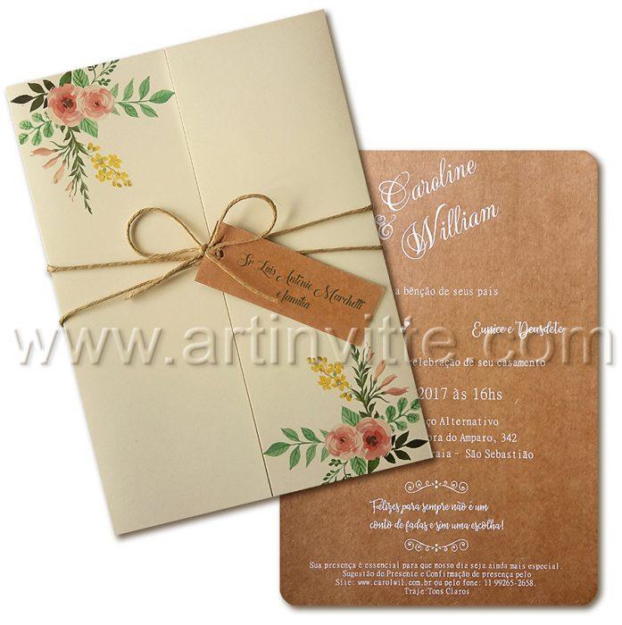 Convite de casamento Rústico HA 012 - convites rústicos